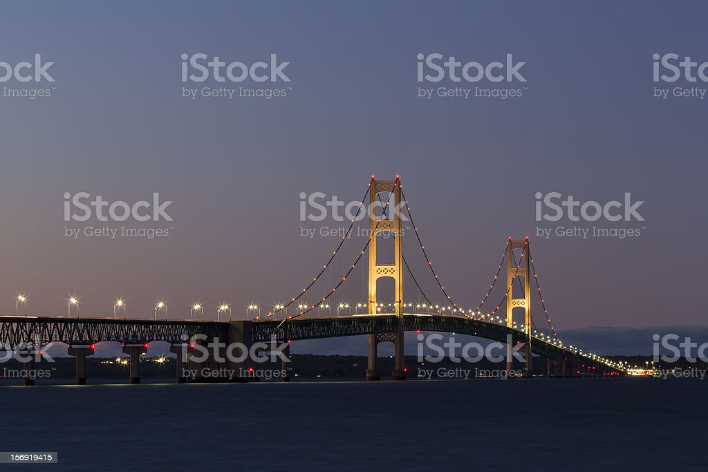 Big Mackinac Bridge Illuminated royalty-free stock photo