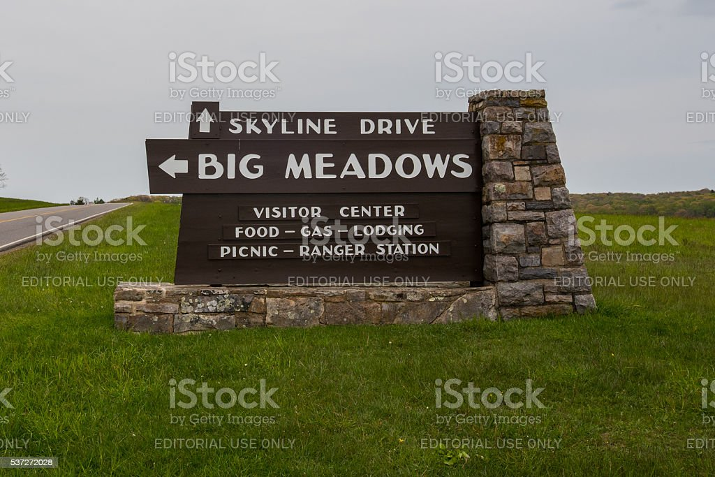 Big Meadows Sign in Shenanodah National Park stock photo