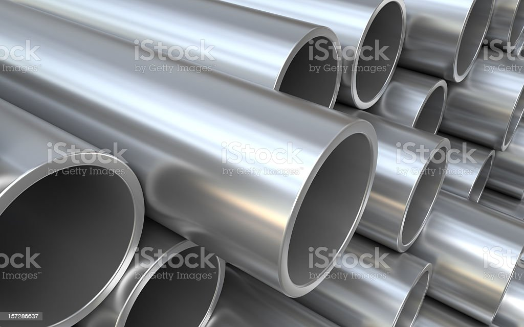 Big metal cylinder pipes stacked together vector art illustration