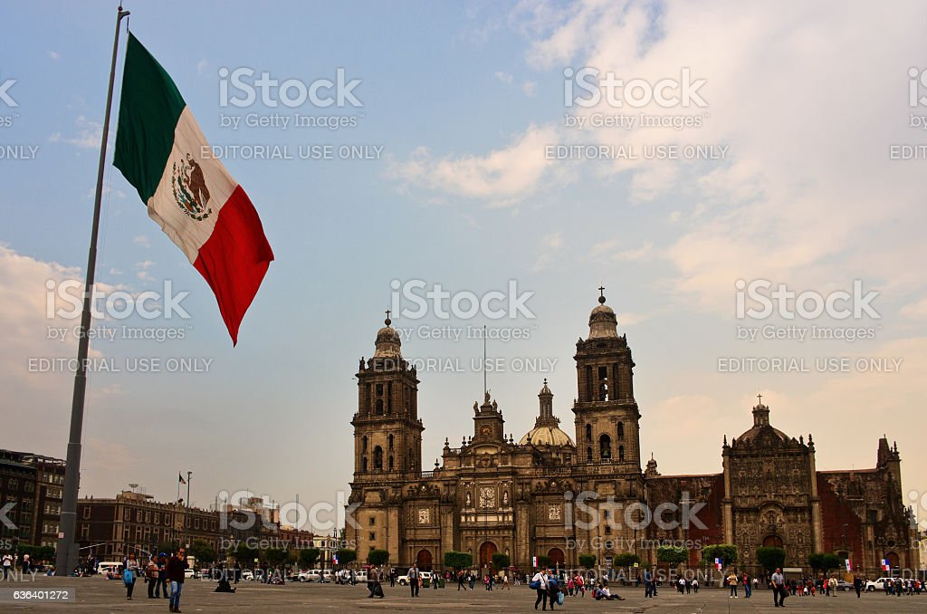 Big Mexican Flag on Zocalo near Cathedral, Mexico City stock photo