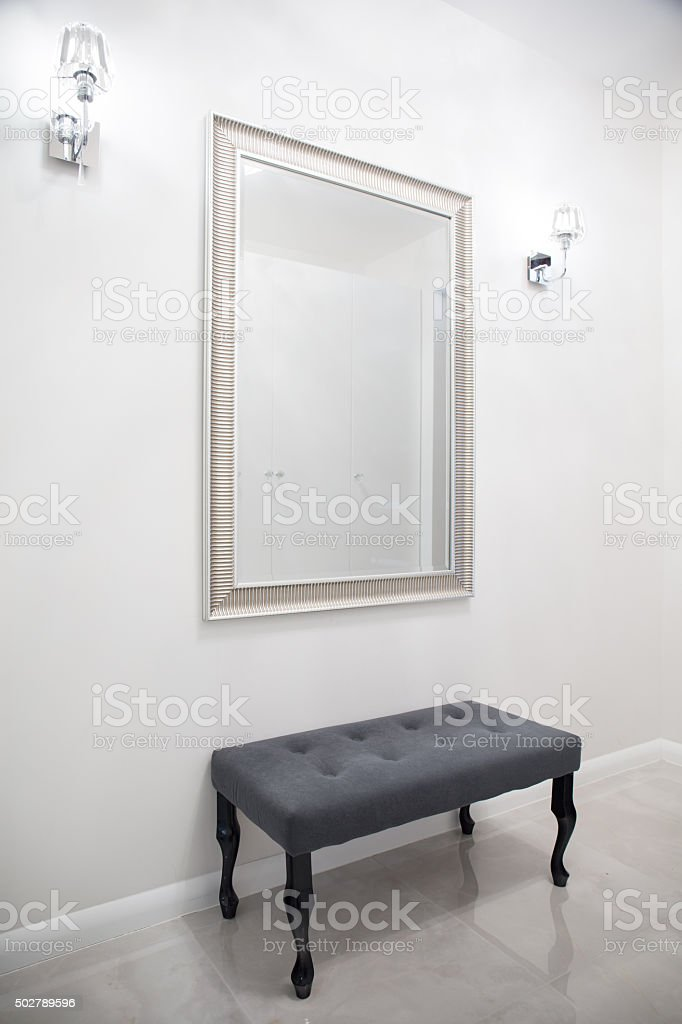 Big mirror in exclusive anteroom stock photo