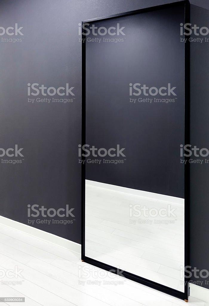 Big mirror with mordern wall stock photo