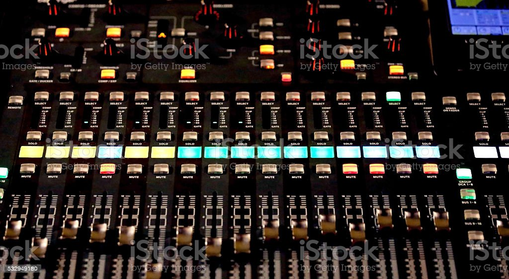big mixing console with channel stock photo
