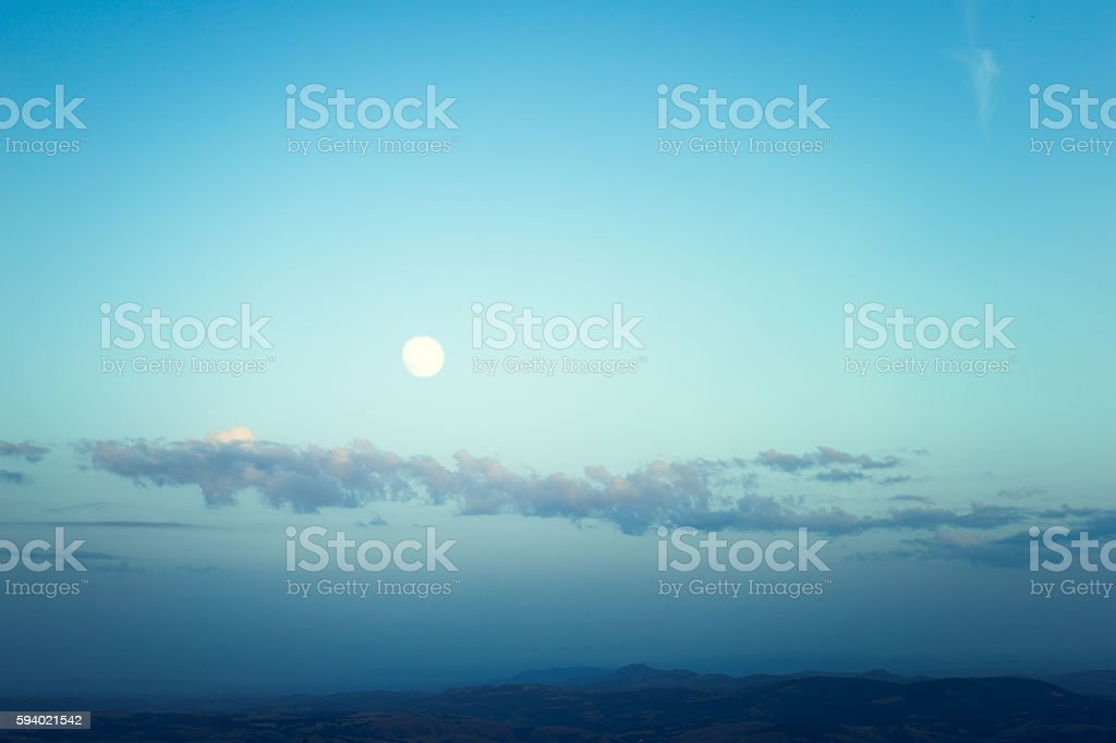 Big moon over wonderful landscape stock photo
