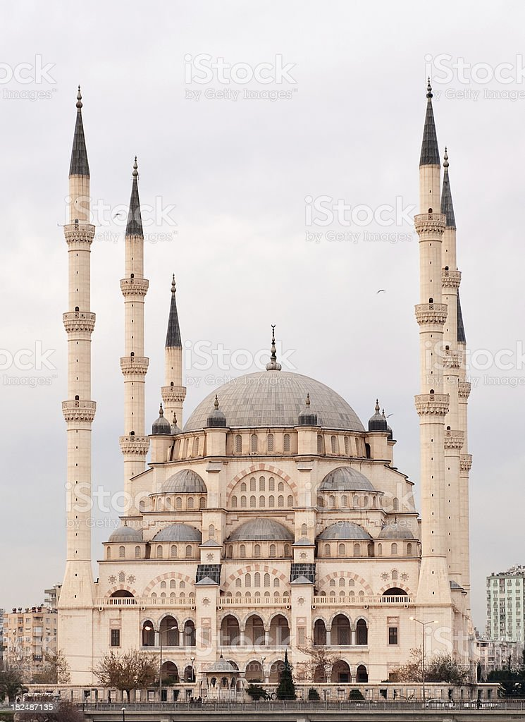 Big Mosque with six minaret stock photo