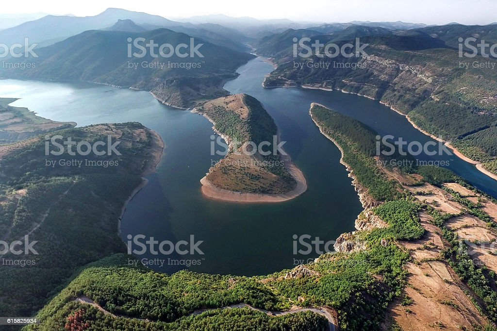 Big Mountain River with Meanders Panorama stock photo