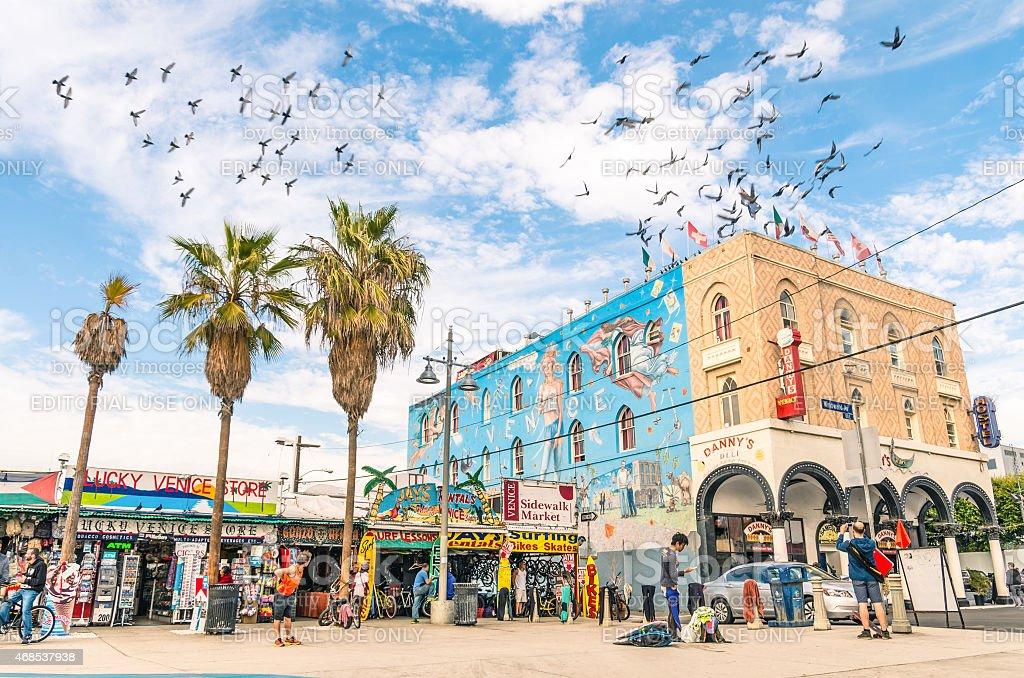 Big mural in Winward Avenue at Venice Beach in California stock photo