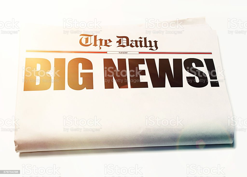 Big News! headline with remaining newspaper blank for your message stock photo