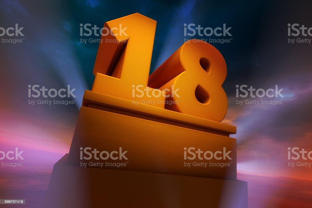 Big Number 18 stock photo