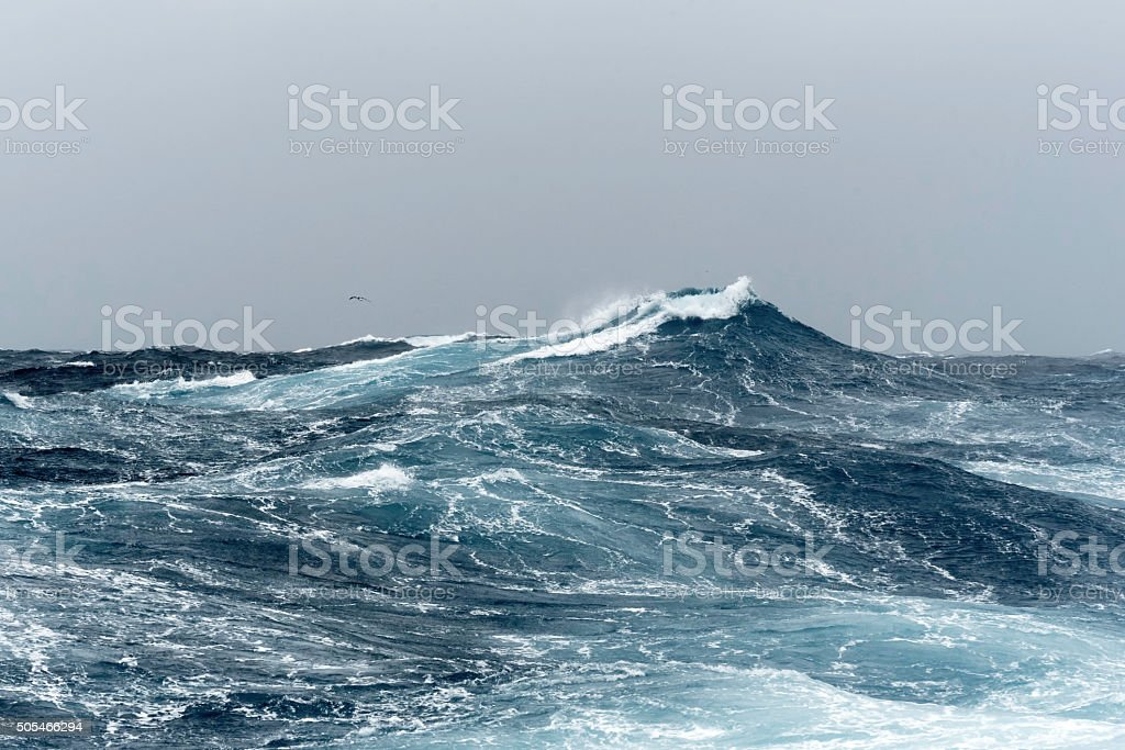 Big Ocean Swells in a Stormy Sea stock photo