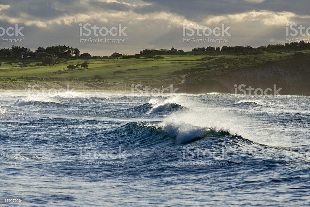 Big Ocean Waves, Green Landscape royalty-free stock photo