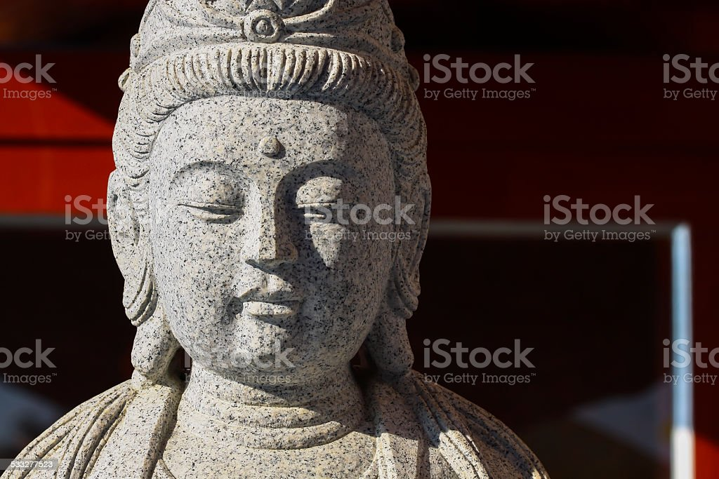 Big of god guanyin statue in China temple. stock photo