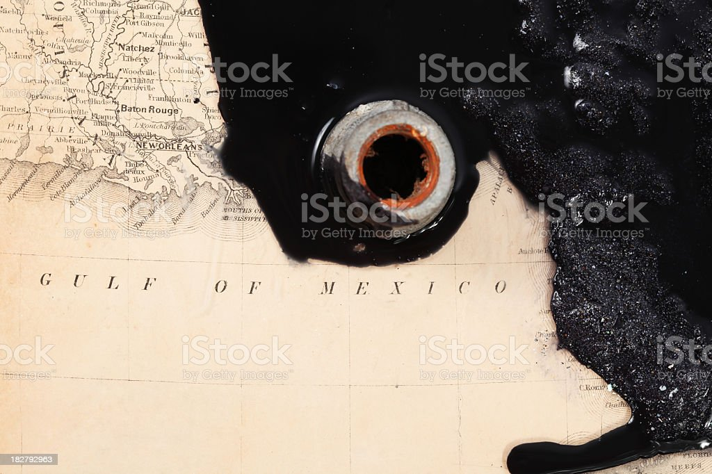 Big oil leak on map royalty-free stock photo