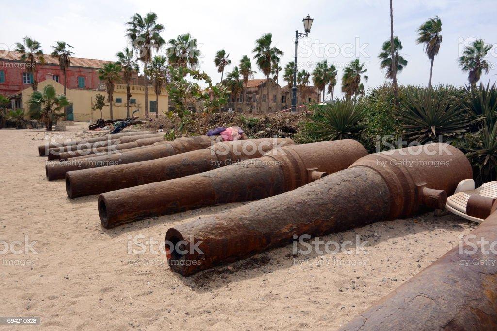 Big old broken canon at the top of Ile de Goree island, Dakar, Senegal stock photo