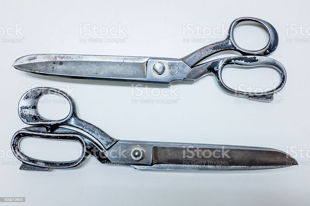 Big old metallic scissors, top view stock photo
