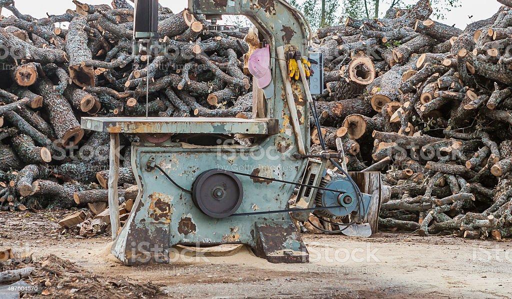 big old saw wit wood stock photo