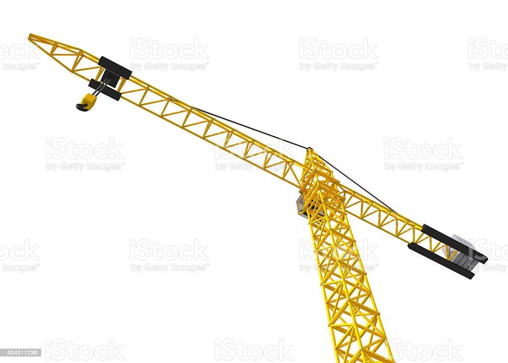 Big orange crane isolated on the white. Bottom view. stock photo