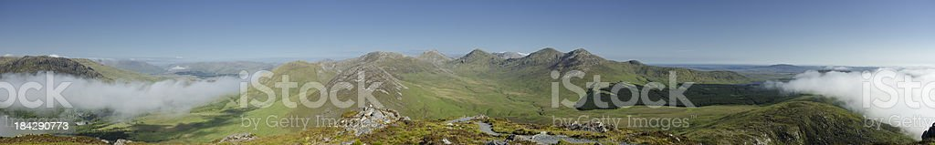 Big panorama capture of Connemara landscape stock photo