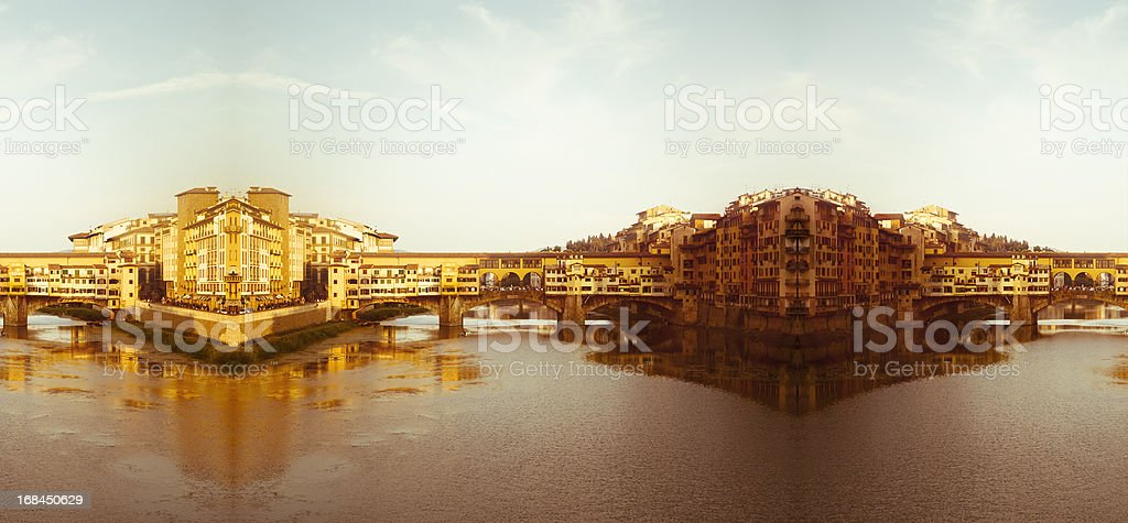 Big panorama of Ponte Vecchio in Florence, Italy royalty-free stock photo