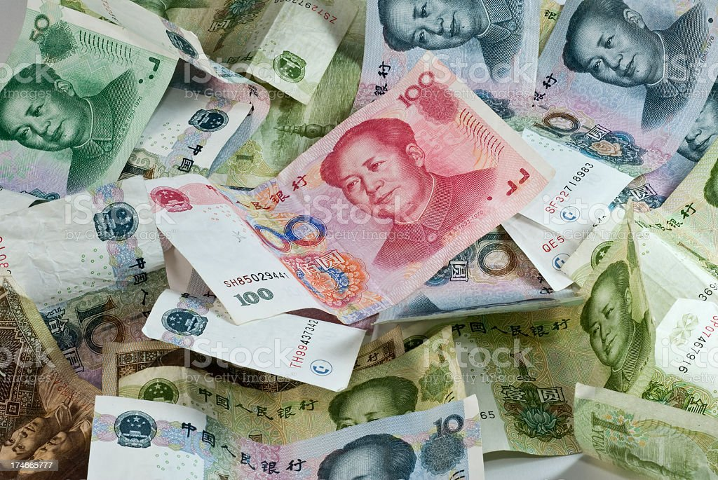 Big pile of assorted Chinese currency royalty-free stock photo