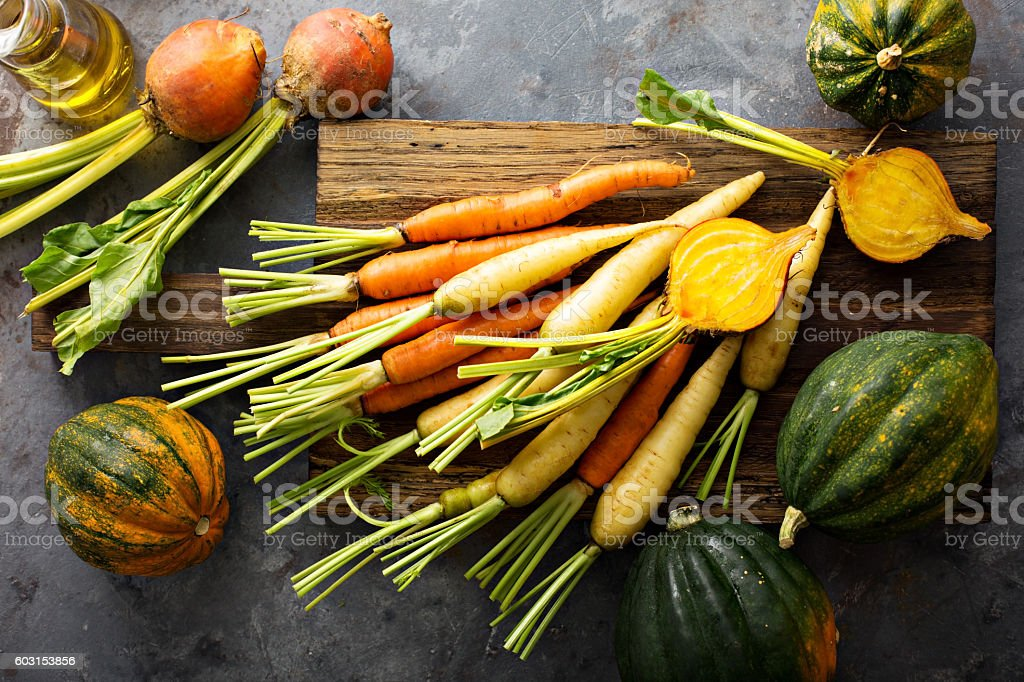 Big pile of autumn produce ready to be cooked stock photo