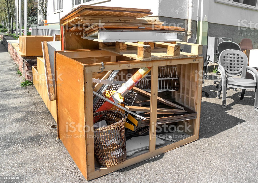 Big pile of broken office furniture stock photo