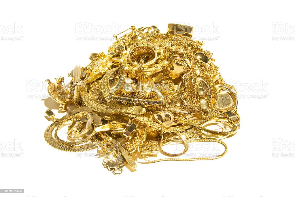 Big Pile of Gold Jewelry stock photo