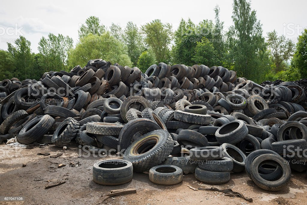 Big pile of old tires stock photo