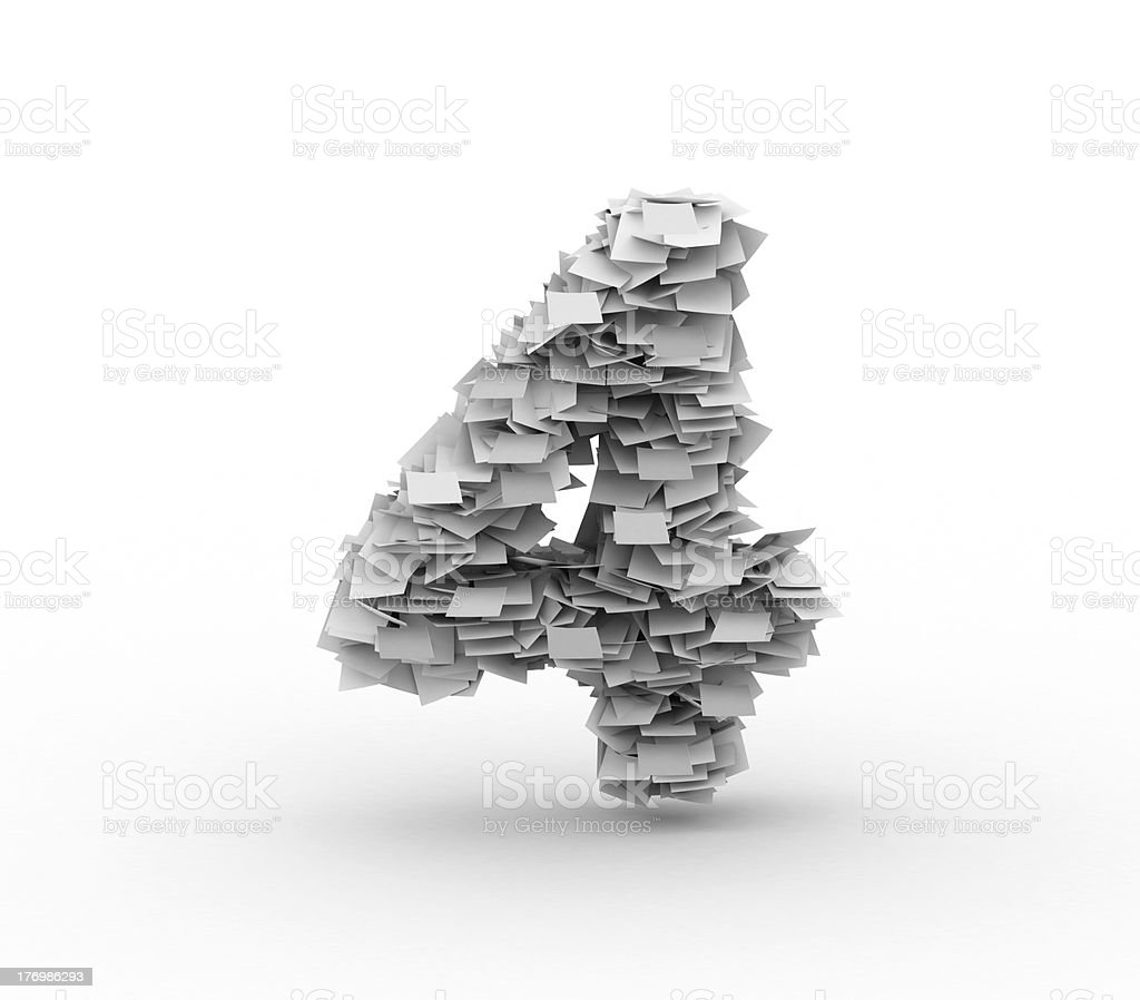 Big pile of paper, number 4 royalty-free stock photo