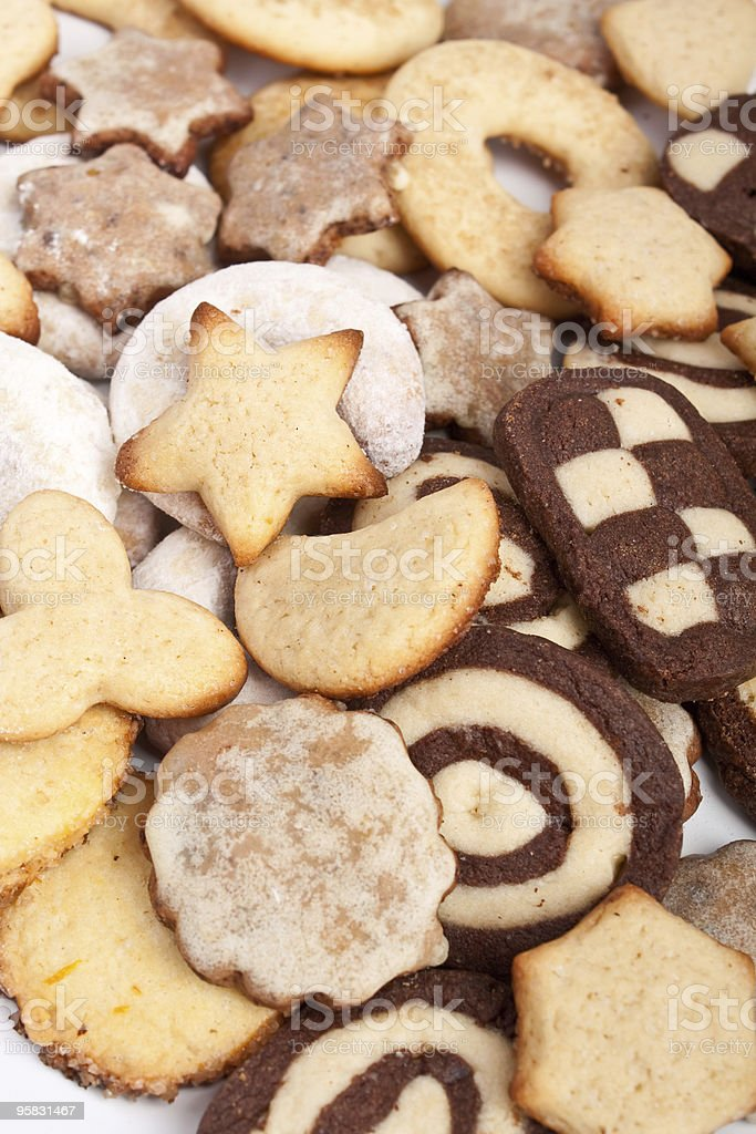 big pile of various christmas cookies  background royalty-free stock photo