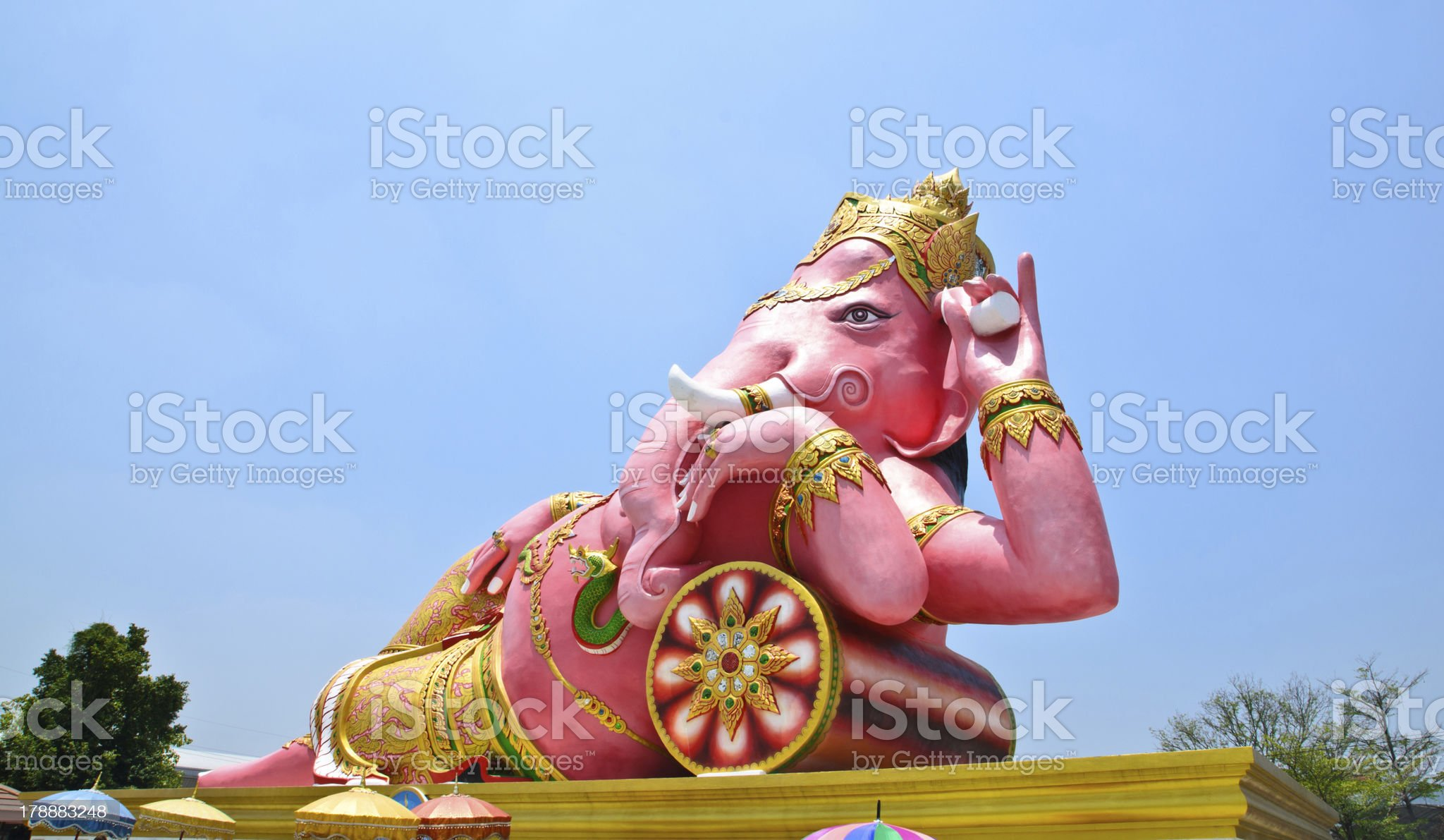 Big pink Ganesha in relax pose, Thailand royalty-free stock photo