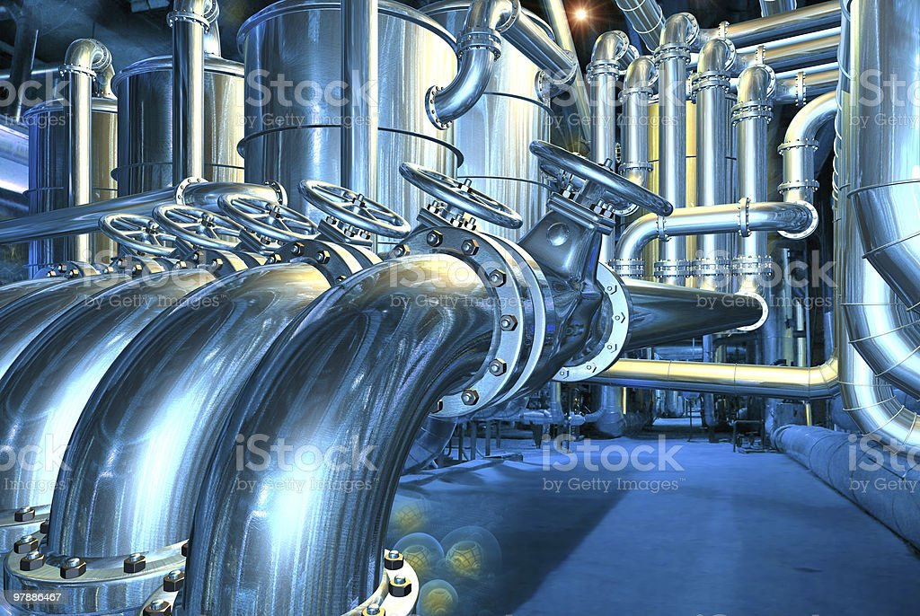 Big pipeline in the abstract refinery stock photo