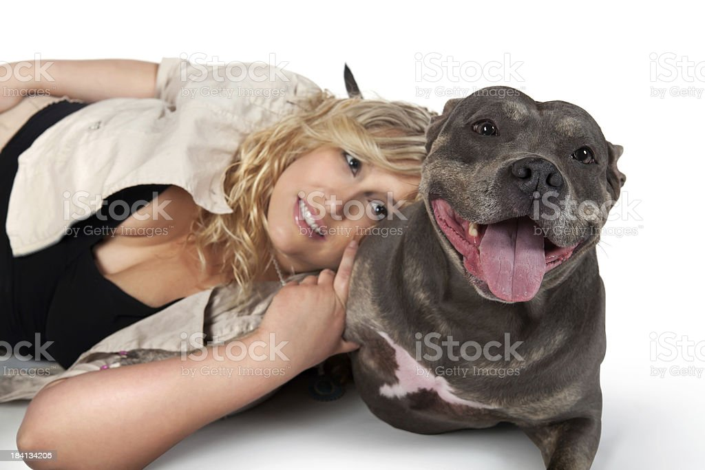 Big Pit Bull Terrier Dog and owner stock photo
