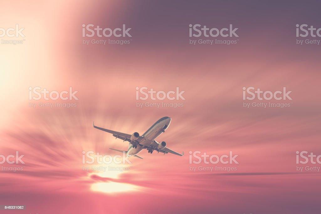 Big plane at sunrise time stock photo