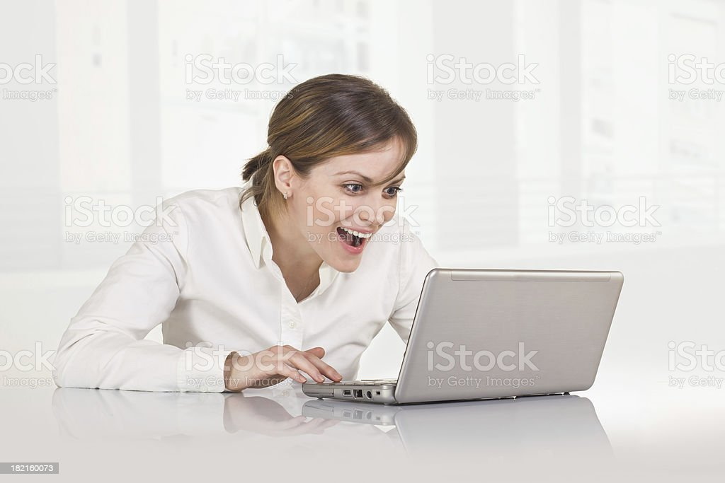 Big Pleasant Surprise on Business Woman's Face royalty-free stock photo