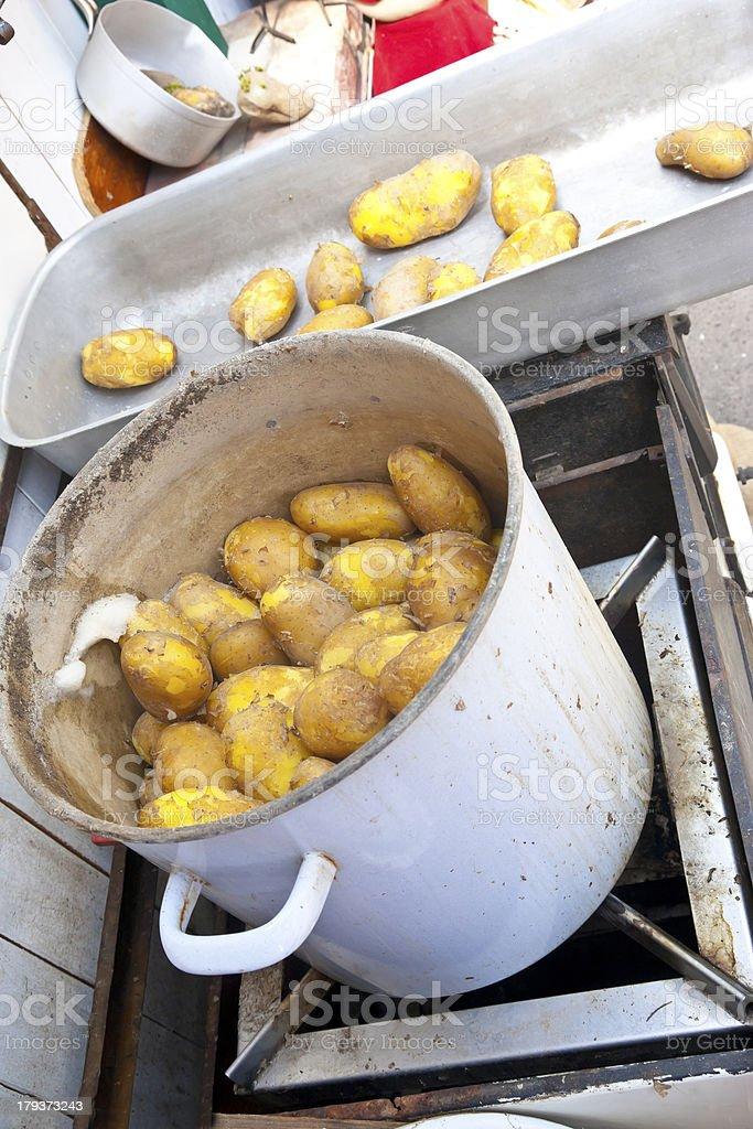 Big pot of fresh boiled potatoes stock photo