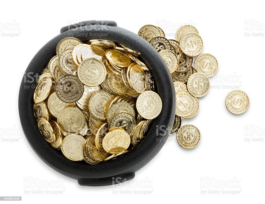 Big Pot of Gold Isolated on White stock photo