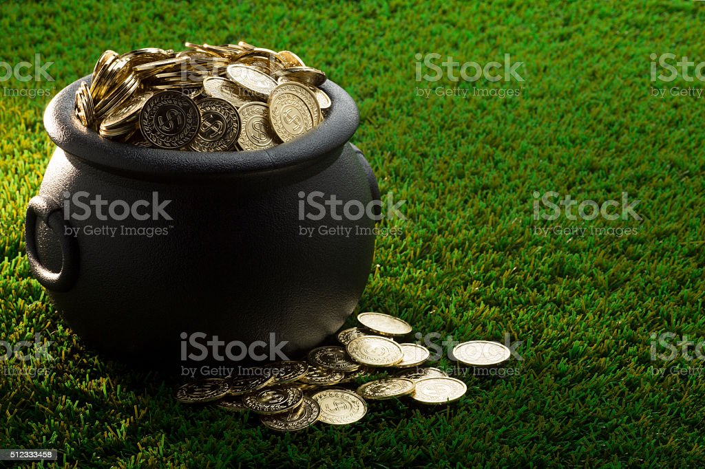 Big Pot of Gold on St. Patrick's Day stock photo