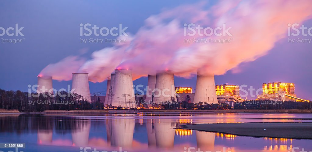 Big Power Plant at sunset stock photo