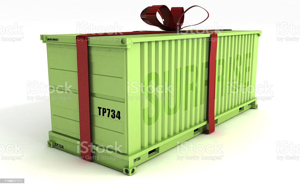 Big Present on a cargo container royalty-free stock photo