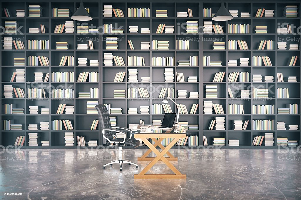 Big private library with glassy table and concrete floor stock photo