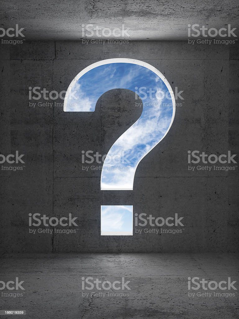 Big question sign aperture in dark empty concrete interior royalty-free stock photo