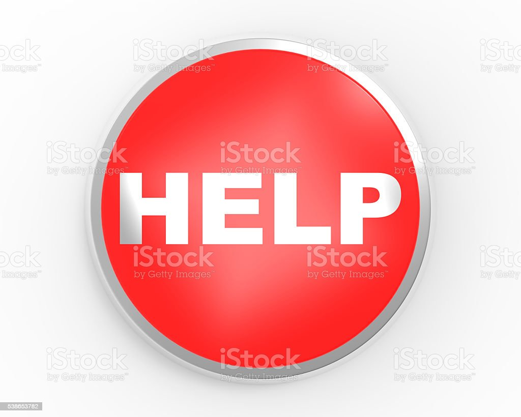 Big red button HELP stock photo