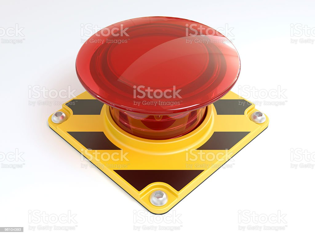 Big red button on yellow and black metal on white background stock photo