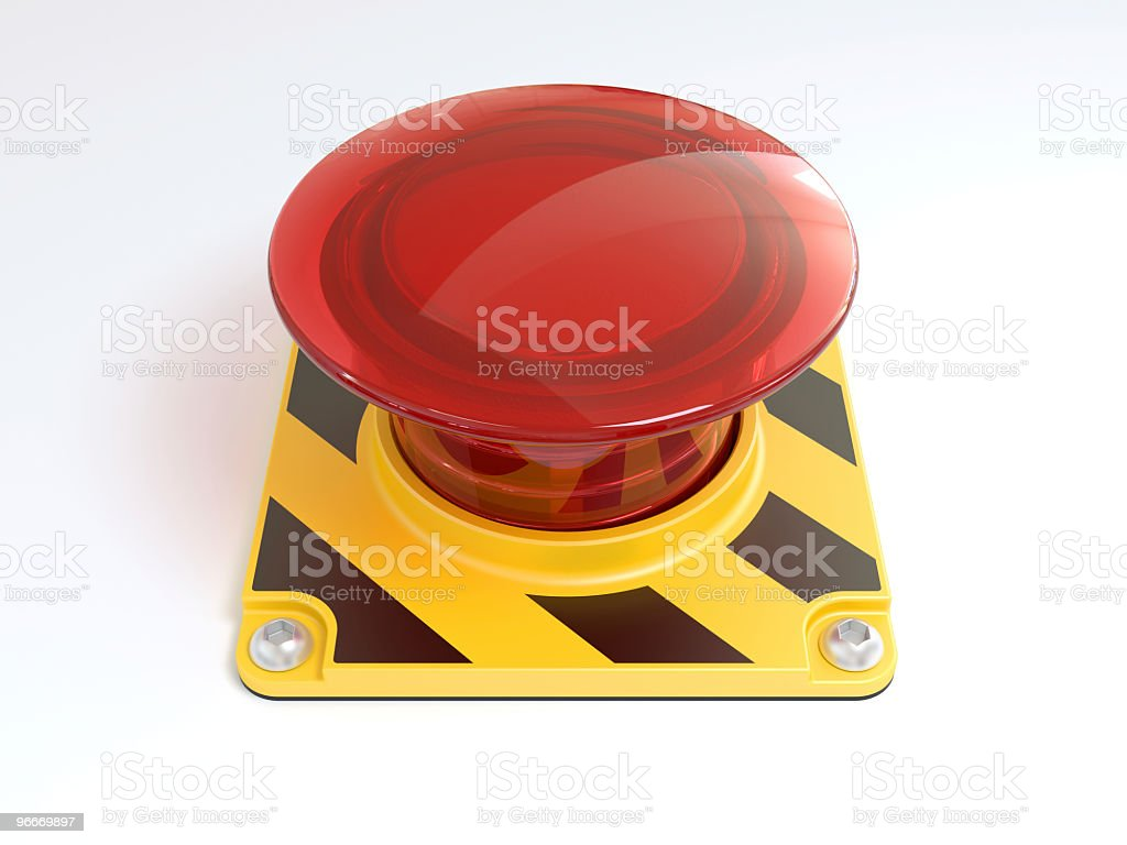 Big red button on yellow and black striped base stock photo