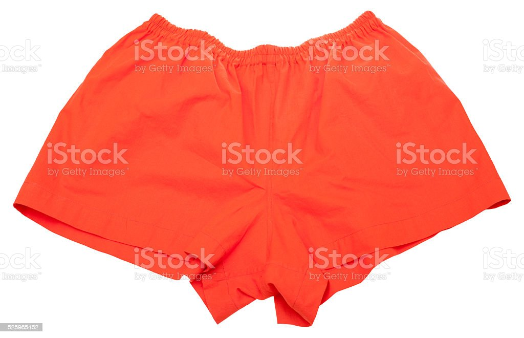 big red Calico shorts for men stock photo