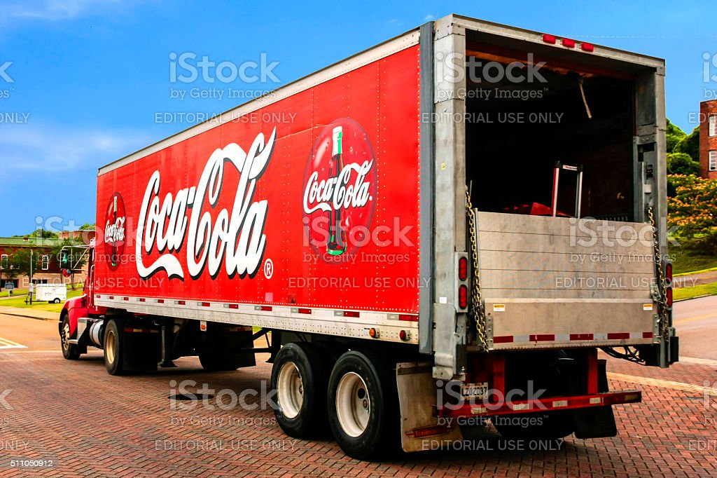 Big Red Coca Cola delivery truck in downtown Vicksburg MS stock photo