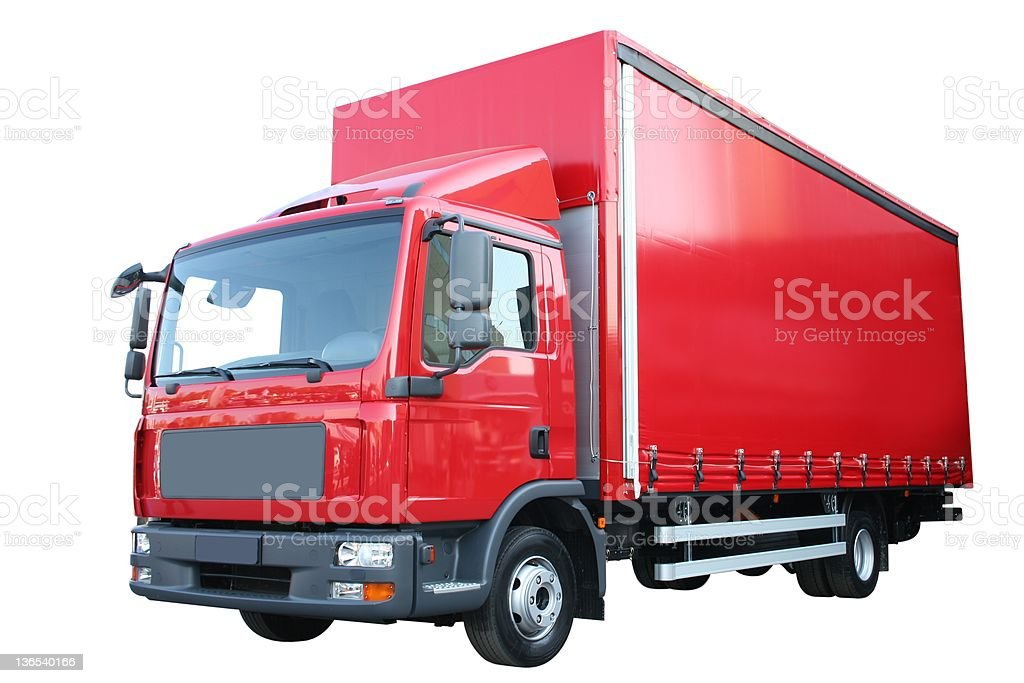 A big red delivery truck on a white background stock photo