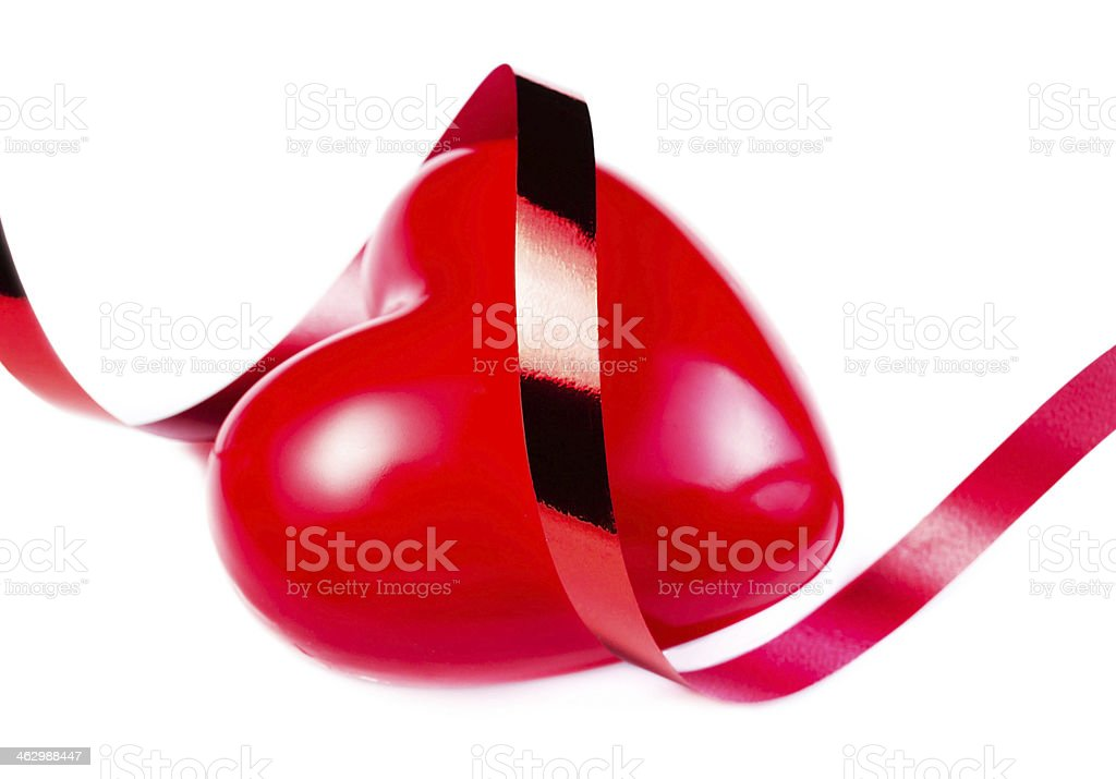 Big Red Heart with festive ribbon isolated royalty-free stock photo
