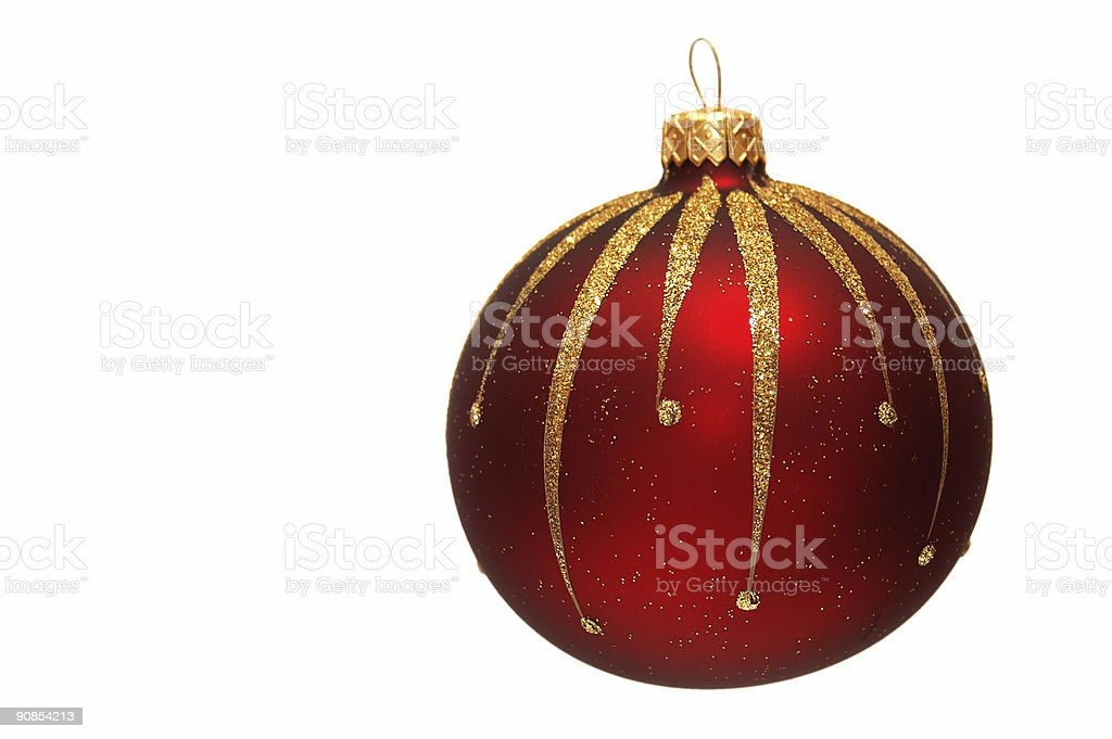 big red patterned Christmas tree bauble royalty-free stock photo